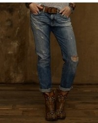 Denim & Supply Ralph Lauren Distressed Boyfriend Jeans Oceanside Wash