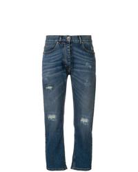 Eleventy Distressed Straight Leg Jeans