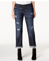 Tommy Hilfiger Ripped Flannel Inset Boyfriend Jeans Dark Wash
