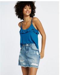 Mid rise distressed raw hem mini skirt medium 3739407