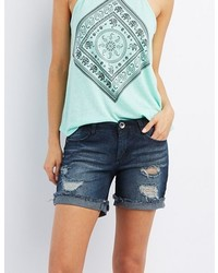 Charlotte Russe Destroyed Girlfriend Denim Shorts