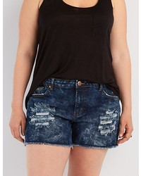 Charlotte Russe Plus Size Acid Wash Denim Shorts