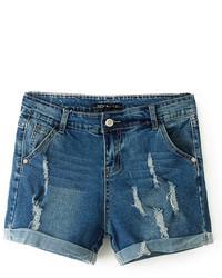 ChicNova Ripped Blue Denim Shorts