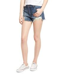 BP. High Waist Frayed Hem Denim Shorts