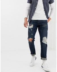 ASOS DESIGN 125oz Slim Jeans In Indigo With Heavy Rips