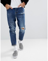 ASOS DESIGN Asos Twisted Seam Tapered Jeans In Dark Wash Vintage With Rips