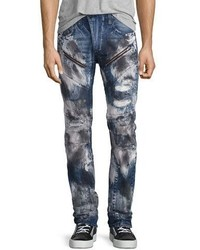 Barracuda bleached distressed denim jeans dark indigo medium 826406