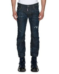 DSQUARED2 Biker Ski Distressed Straight Leg Jeans