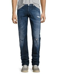 Hudson Blake Distressed Slim Straight Jeans Medium Blue