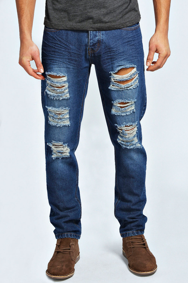 a41503353a56 Boohoo Dark Wash Ripped Slim Fit Jeans, $49 | BooHoo | Lookastic.com