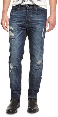 new product c1c01 c2212 $298, Diesel Buster 0854t Distressed Denim Jeans Dark Blue