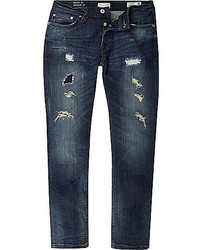 River Island Dark Wash Ripped Only Sons Regular Jeans