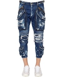 Destroyed cropped denim cargo jeans medium 4417033