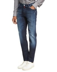 Kiton Distressed Denim Straight Leg Jeans