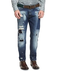 Kiton Distressed Straight Leg Jeans Blue