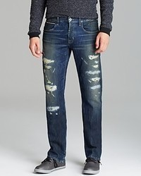 Hudson Jeans Byron Selvedge Straight Fit In Distressed Denim