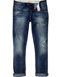River Island Mid Wash Ripped Chester Tapered Jeans