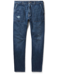 Brunello Cucinelli Slim Fit Distressed Selvedge Denim Jeans