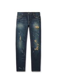 Balmain Slim Fit Tapered Distressed Denim Jeans