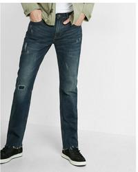 Express Slim Straight Dark Wash Distressed Stretch Jeans