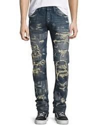 Super distressed rip repair denim jeans indigo medium 1124976