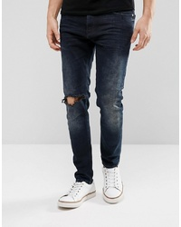 Just Junkies Tapered Jeans In Dark Wash With Abrasions