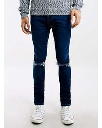 Topman Dark Wash Ripped Stretch Skinny Fit Jeans