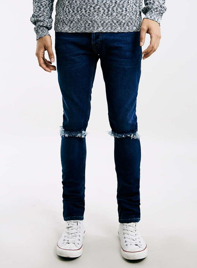 Topman Dark Wash Ripped Stretch Skinny Fit Jeans | Where to buy ...