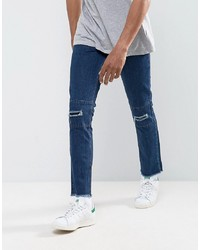 Hoxton Denim Vintage Cropped Patchwork Slim Fit Jeans With Raw Hem And Rips