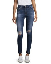 AG Jeans Ag Farrah Ankle High Rise Distressed Skinny Jeans