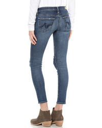 Women S Light Blue Denim Shirt Navy Ripped Skinny Jeans