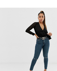 Asos Petite Asos Design Petite Ridley High Waist Skinny Jeans In Dark Wash Blue With Ripped Knee Detail