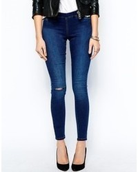 Asos Jameson Low Rise Denim Jeggings In Dark Wash With Ripped Knee