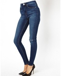 Asos Ridley High Waist Ultra Skinny Jeans In Faded Authentic Dark Wash Blue With Ripped Knee Blue