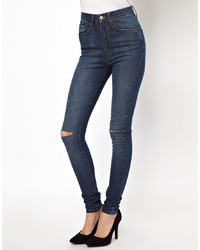 Asos Uber High Waist Ultra Skinny Jean With Ripped Knee