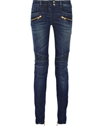Balmain Moto Style Distressed Low Rise Skinny Jeans Mid Denim