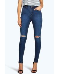 Boohoo Jennie High Waisted Knee Rip Skinny Jeans