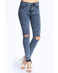 Boohoo Jessa Ripped Knee Cut Off Hem Skinny Jeans