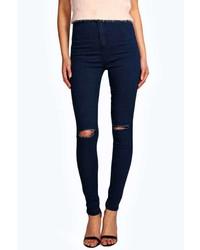 Boohoo Lara Ripped Knee Super Skinny Tube Jeans