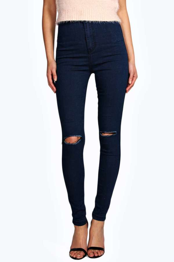 Images of Navy Blue Skinny Jeans - Reikian