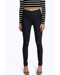 Boohoo Laura Ripped Knee High Waist Skinny Jeans