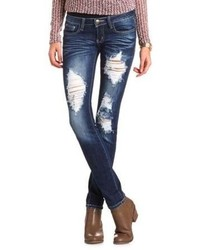 Charlotte Russe Machine Jeans Destroyed Denim Skinny Jean