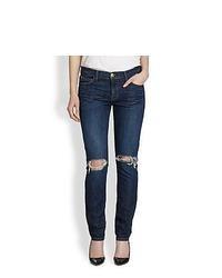 Current/Elliott The Ankle Distressed Skinny Jeans Bedford Destroy