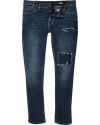 River Island Dark Blue Wash Ripped Sid Skinny Jeans