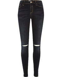 River Island Dark Vintage Wash Ripped Knee Molly Jeggings
