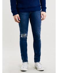Topman Dark Wash Rip And Repair Stretch Skinny Fit Jeans