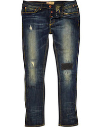 River Island Dark Wash Ripped Flynn Skinny Jeans