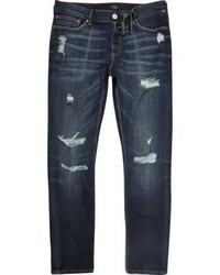River Island Dark Wash Ripped Sid Skinny Jeans