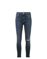 Mother Distressed Detail Slim Fit Jeans