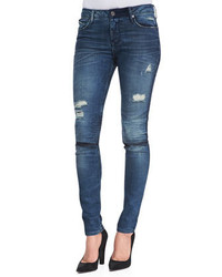 RtA Denim Distressed Knee Slit Skinny Jeans